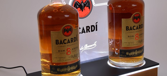 bacardi traditional bottle display